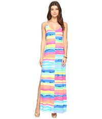 Lilly Pulitzer Gigi Maxi Beach Dress Multi Blurred Stripes Split Women's Dress