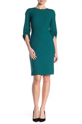 Lafayette 148 New York Erland 3 4 Length Sleeve Dress Deco Teal