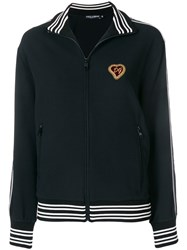 Dolce And Gabbana Zip Front Logo Patch Sports Jacket Black