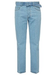 Prada Belted Straight Leg Jeans Light Blue
