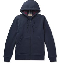 Burberry Cotton Blend Jersey Zip Up Hoodie Navy