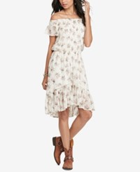Denim And Supply Ralph Lauren Floral Print Off The Shoulder Dress Euclid Floral Cream Combo