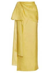 Rosie Assoulin Hustle And Bustle Floral Jacquard Silk Blend Skirt Yellow