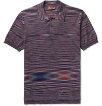 Missoni Slim Fit Space Dyed Cotton Jersey Polo Shirt Purple