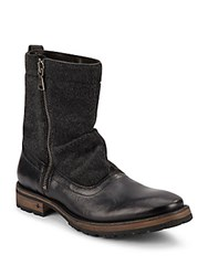 John Varvatos Leather Mid Calf Boots Black