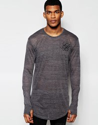 Sik Silk Siksilk Longline Burnout Long Sleeve Fitted T Shirt With Stripes Black
