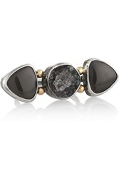 Melissa Joy Manning Sterling Silver Druzy And Obsidian Ring Metallic