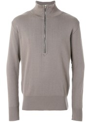 S.N.S. Herning Zip Up Fitted Sweatshirt Grey