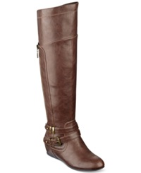 G By Guess Women's Gaines Tall Wedge Boots Women's Shoes Cognac