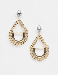 Missguided Chain Drop Earrings Gold
