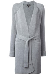 Emporio Armani Open Belted Cardi Coat Grey