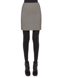Akris Punto Houndstooth Pencil Mini Skirt Black Cream Black Cream