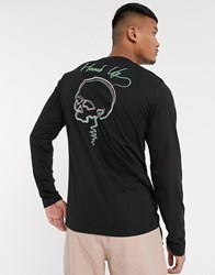 Bolongaro Trevor Long Sleeve T Shirt With Skull Back Print Black