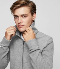 Reiss Dover Zip Front Knitted Jacket In Grey Mens