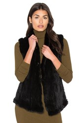 June Shawl Dyed Rabbit Fur Vest Black