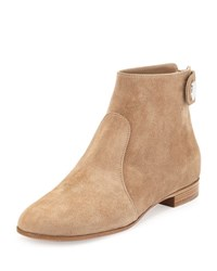 Gianvito Rossi Suede Side Button Ankle Boot Bisque