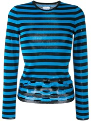 Paco Rabanne Perforated Striped Jumper Blue