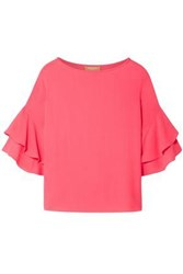 Michael Kors Collection Woman Ruffled Silk Georgette Blouse Pink
