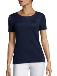 Saks Fifth Avenue Silk And Cashmere T Shirt Blazing Berry Bright Blue Midnight Stone