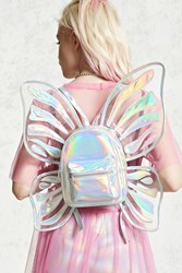 Forever 21 Holographic Butterfly Backpack Silver Multi