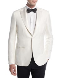 Kiton Doupioni Peak Lapel Dinner Jacket White