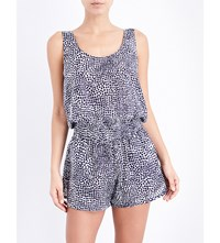 Stella Mccartney Animal Print Cotton And Silk Blend Playsuit Midnght Blue Leo Giraffe