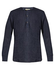 De Bonne Facture Round Neck Washed Linen Shirt Navy
