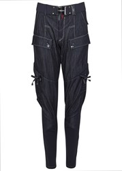 High Dark Blue Chambray Trousers Navy