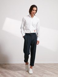 Shanghai Tang Linen Cotton One Pleat Pants Navy