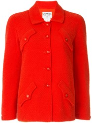 Chanel Vintage Classic Fitted Jacket Red