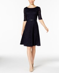 Charter Club Petite Belted Lace Fit And Flare Dress Only At Macy's Deepest Navy