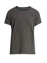 Longjourney Crew Neck Patch Pocket Cotton T Shirt Grey