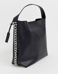 Glamorous Tote Bag With Chain Detail Black