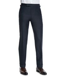 Tom Ford O'connor Base Flat Front Sharkskin Trousers Navy