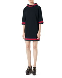 Gucci Stretch Viscose Hooded Dress With Web Black Blue