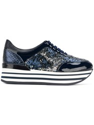 Baldinini Platform Lace Up Sneakers Blue