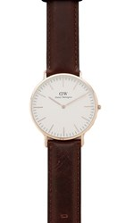 Daniel Wellington Bristol Watch With 40Mm White Dial And Leather Band Rose Gold