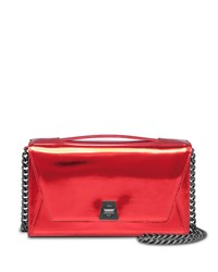 Anouk City Leather Envelope Clutch Bag Scarlet Metallic Akris