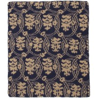 Dries Van Noten Blue And Beige Merino Tavita Scarf