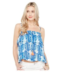 Lilly Pulitzer Mays Top Indigo Get In Line Women's Clothing Blue
