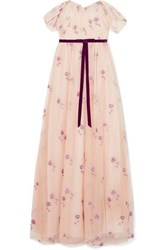 Marchesa Notte Off The Shoulder Embroidered Tulle Gown Blush