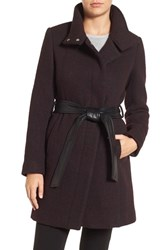 Andrew Marc New York Women's Brushed Twill Coat With Faux Leather Belt