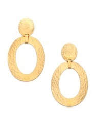 Josie Natori Oval Link Statement Clip On Drop Earrings Gold
