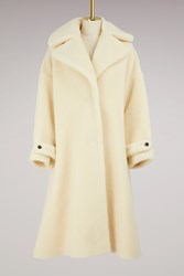 Olympia Le Tan Wool Kim Teddy Coat White