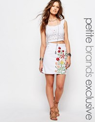 Glamorous Petite Denim Aline Skirt With Floral Embroidery White