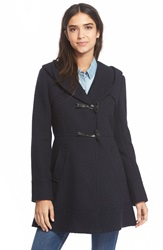 Jessica Simpson Hooded Basket Weave Duffle Coat Navy
