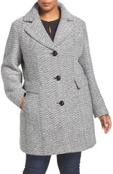 Gallery Plus Size Women's Tweed Coat White Black Tweed