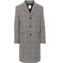 Sandro Prince Of Wales Checked Wool Blend Coat Black