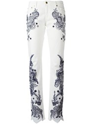 Roberto Cavalli Embroidered Trousers White