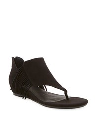 Me Too Adina Suede Fringe Thong Sandals Black